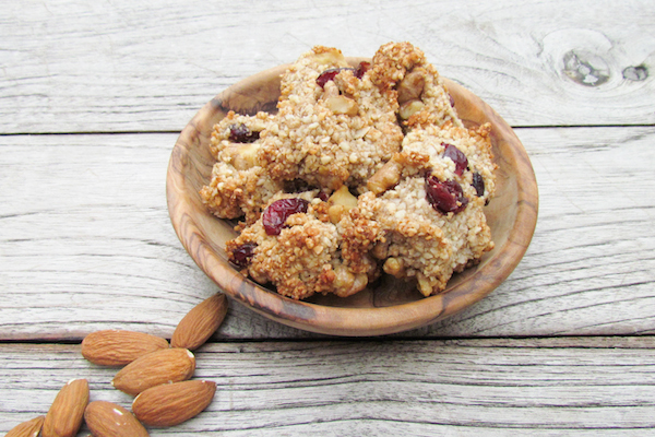 ALMOND, CRANBERRY AND GINGER COOKIES